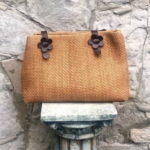 Vintage woven and leather bag with flowers
